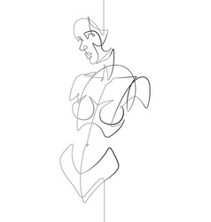 female figure facing forward one line art vector image