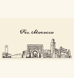 fez skyline morocco hand drawn sketch vector image