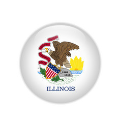 Flag illinois button vector
