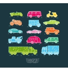 Flat transport icons blue vector