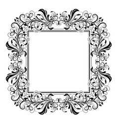Floral decorative filigree frame for cards or vector