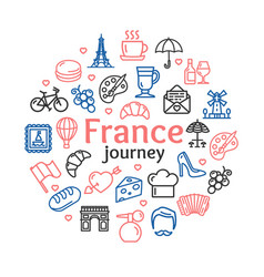 france travel round design template line icon vector image