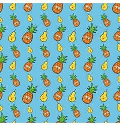 Fruits Seamless Background with Funny Pineapples vector