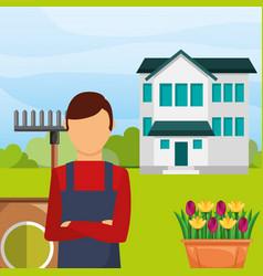 gardener man in the garden house rake flowers vector image