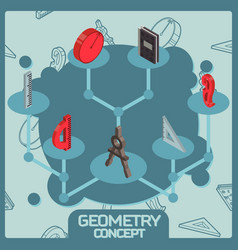 Geometry color isometric concept icons vector