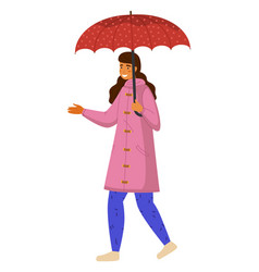 girl goes with red umbrella holding out hand vector image
