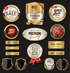 Gold and black retro vintage shield collection vector