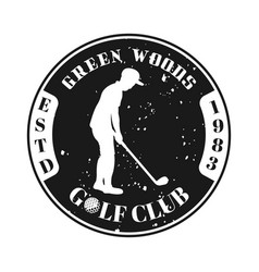 golf club emblem with silhouette golfer vector image