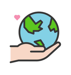 Hand holding globe or planet earth icon filled vector