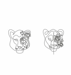 Head a lion in a flower ornament vector