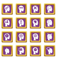 head logos icons set purple vector image