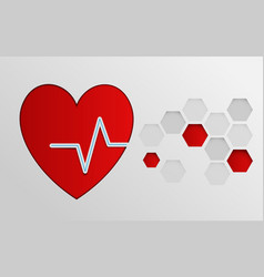 heart with cardiogram with abstract hexagons vector image