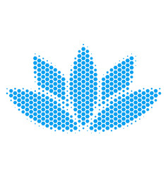 Hexagon halftone lotus flower icon vector
