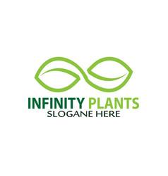 Infinity plants logo design vector