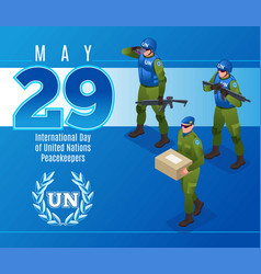 International day united nations peacekeepers vector