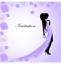 Invitation card with a girl in violet dress vector image