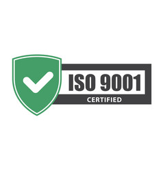 Iso 9001 certificate plate - website emblem of vector