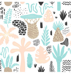 Jungle tropical seamless pattern in childish style vector