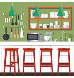 Kitchen room design vector