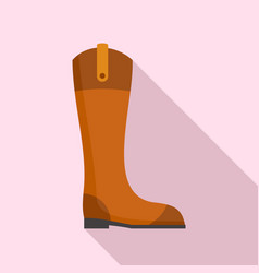 Leather horseback boot icon flat style vector