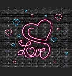 love symbol in neon light valentine day vector image