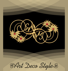 Luxury art deco filigree brooch with floral motif vector