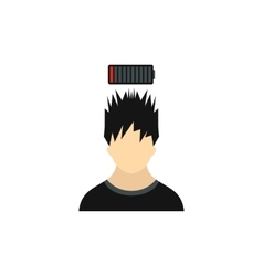 Man with low power battery over his head icon vector