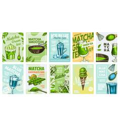 matcha green tea poster healthy milk blue latte vector image