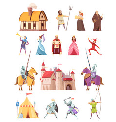 Medieval characters buildings icons set vector