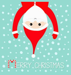 Merry christmas santa claus hanging upside down vector