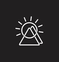 mountain sun linked lines symbol logo vector image