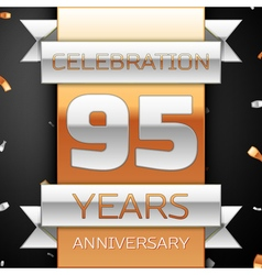 Ninety five years anniversary celebration golden vector
