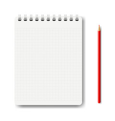 notebook isolated with pencil white background vector image