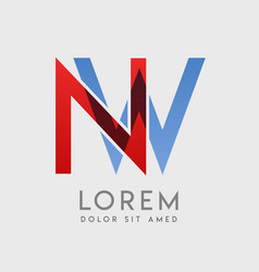 Nw logo letters with blue and red gradation vector