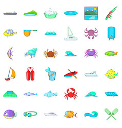 ocean water icons set cartoon style vector image