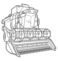 Outline combine-harvester vector