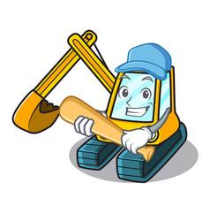 playing baseball excavator character cartoon style vector image