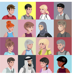 Portraits of people of different nationalities vector