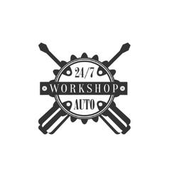 Repair Workshop Black And White Label Design vector image