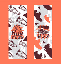 run more now set banners vector image