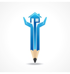 Save home concept with pencil hands vector