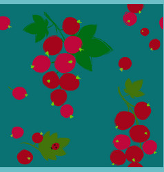 seamless pattern with red currant berries vector image