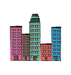 Set buildings city town residence image vector