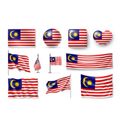 Set malaysia flags banners banners symbols vector
