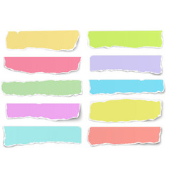 Set of elongated torn color paper fragments vector
