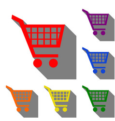 shopping cart sign set of red orange yellow vector image