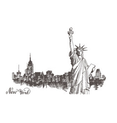 Sketch of the statue of liberty and the panorama vector