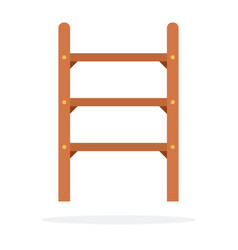 Small wooden staircase flat isolated vector