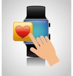 Smart watch wearable technology heart app vector