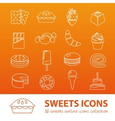 Sweets outline icons vector
